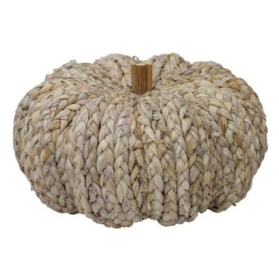 "Northlight 9.5"" Beige Weaved Autumn Harvest Table Top Pumpkin"