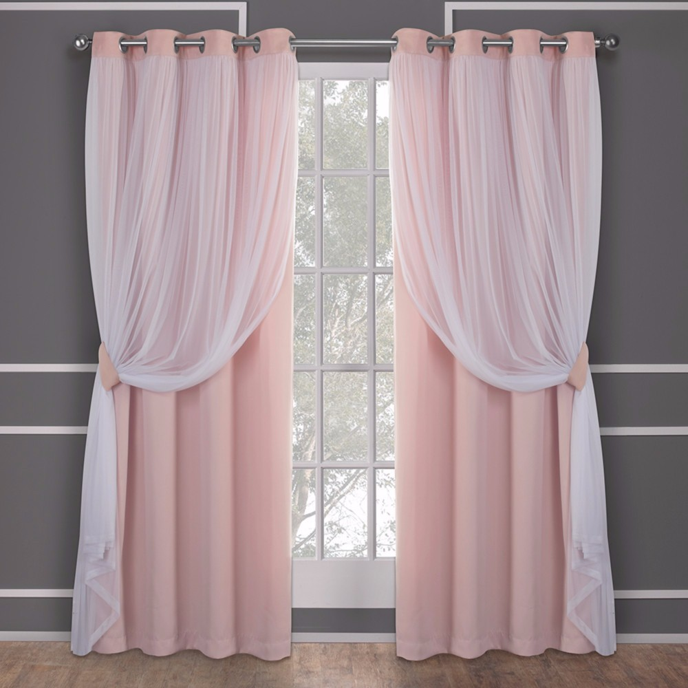 Image of Caterina Layered Solid Blackout with sheer top curtain panels Rose Blush 52x84 - Exclusive Home, Pink