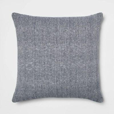 Oversized Square Woven Herringbone Pillow Navy - Threshold™