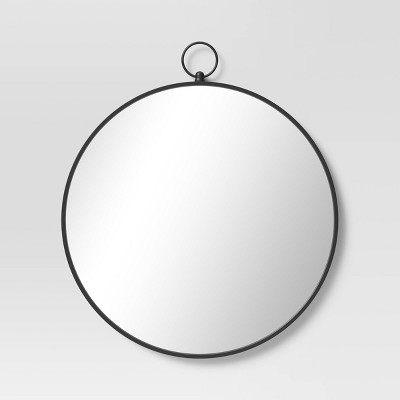 "23"" x 26.75"" Round Metal Wall Mirror with Hanger Black - Threshold™"