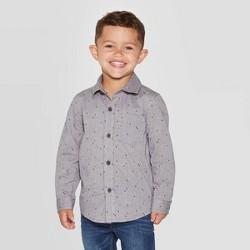 Toddler Boys' Long Sleeve Tree Graphic Woven Shirt - Cat & Jack™ Gray