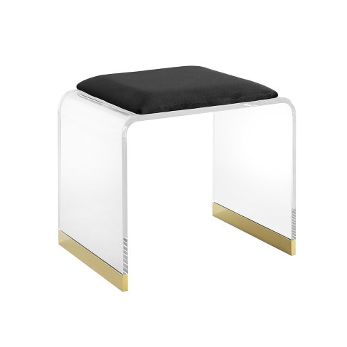 Pleasing Meng Upholstered Acrylic Vanity Stool Black Aiden Lane Beatyapartments Chair Design Images Beatyapartmentscom