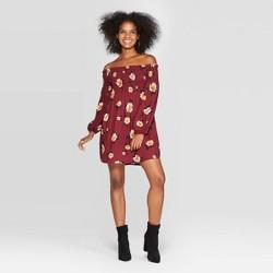 Women's Floral Print Long Sleeve Smocked Top Off the Shoulder Mini Dress - Xhilaration™ Burgundy