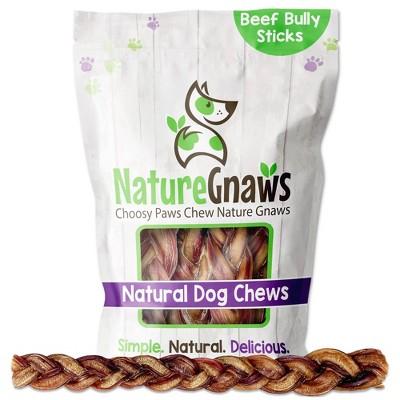 "Nature Gnaws Braided Bully Sticks 11-12"" Beef Dog Treats - 5ct"
