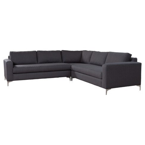 Modern Usa Made Upholstered 3 Piece 110 Sectional Sofa Charcoal