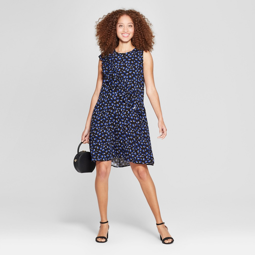 Women's Printed Asymmetrical Ruffle Dress - A New Day Navy/White L, Size: Small, Blue was $24.98 now $16.23 (35.0% off)
