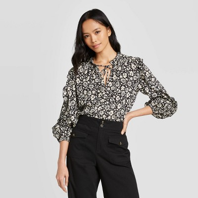 Women's 3/4 Sleeve Ruffle Details Blouse - Who What Wear™