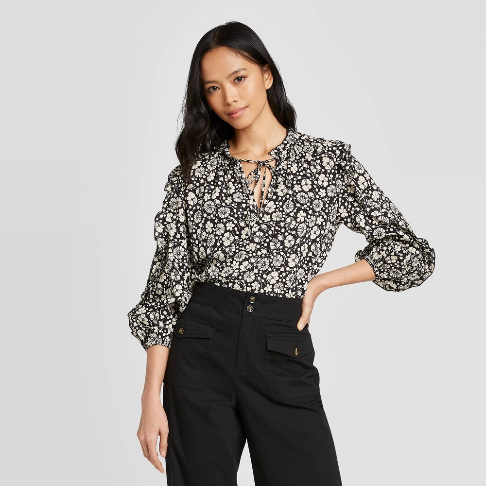 Image of Women's Floral Print Long Sleeve High Neck Ruffle Details Blouse - Who What Wear Black L, Women's, Size: Large