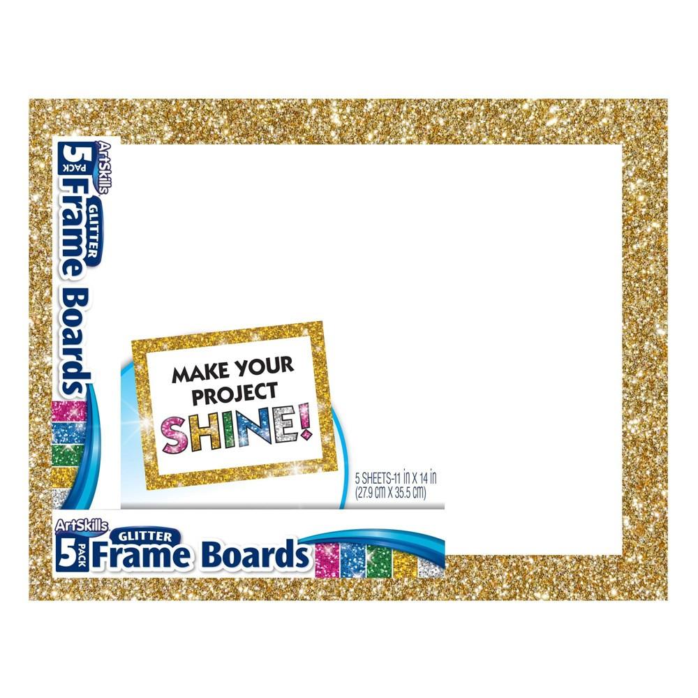 Image of ArtSkills 5pk Glitter Frame Presentation Boards, White Gold