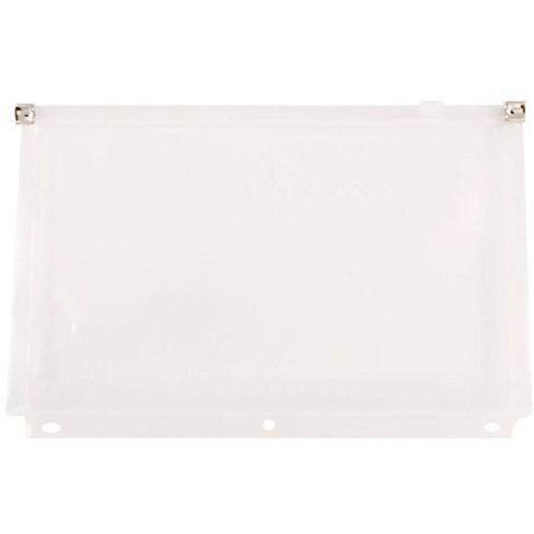 JAM Paper 6'' x 9 1/2'' 24pk Plastic 3 Hole Punch Binder Envelopes, Zip Closure - Clear - image 1 of 2