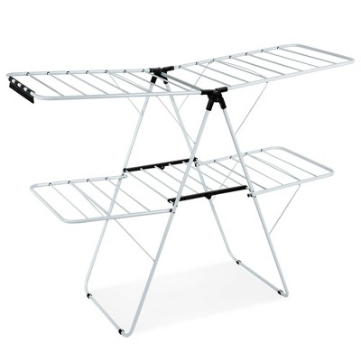 Costway 2-Level Clothes Drying Rack Foldable Airer w/ Height-Adjustable Gullwing