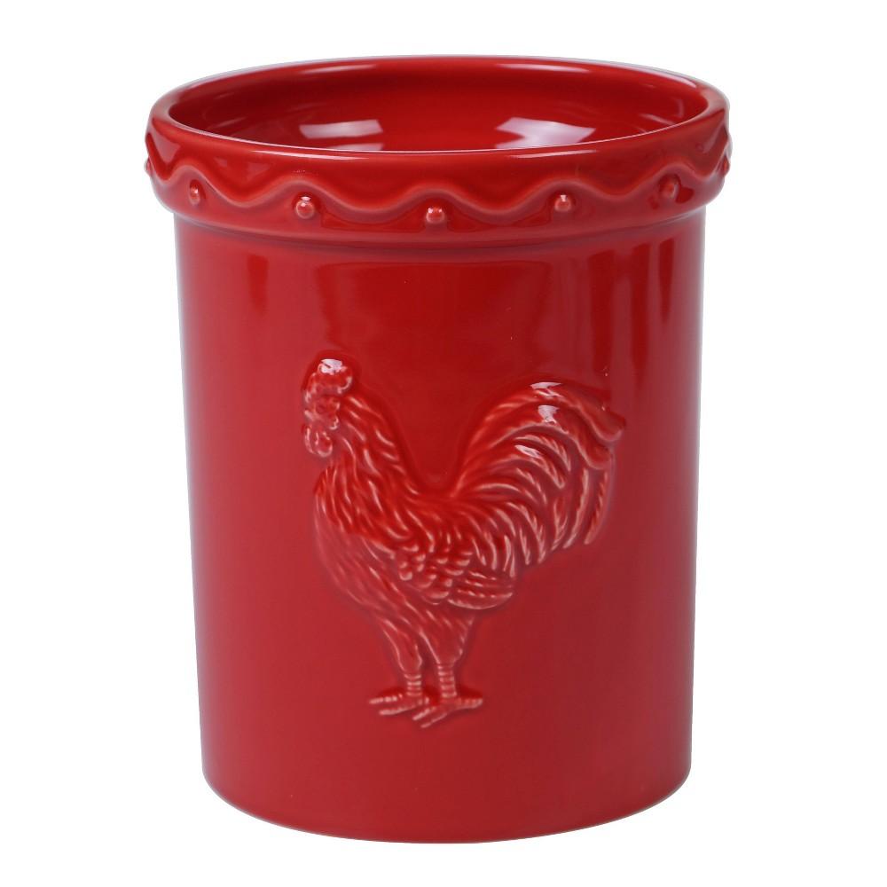 Image of Earthenware Homestead Rooster Utensil Holder Red - Certified International