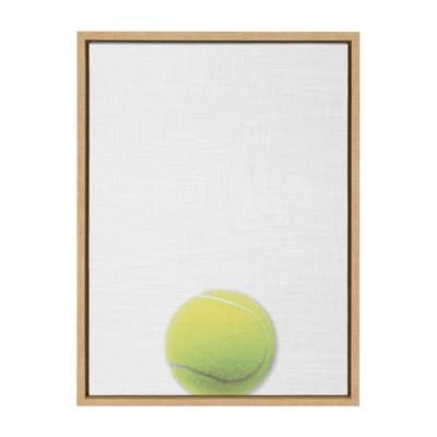 "18"" x 24"" Sylvie Color Tennis Ball PortraitFramed Canvas Natural - DesignOvation"