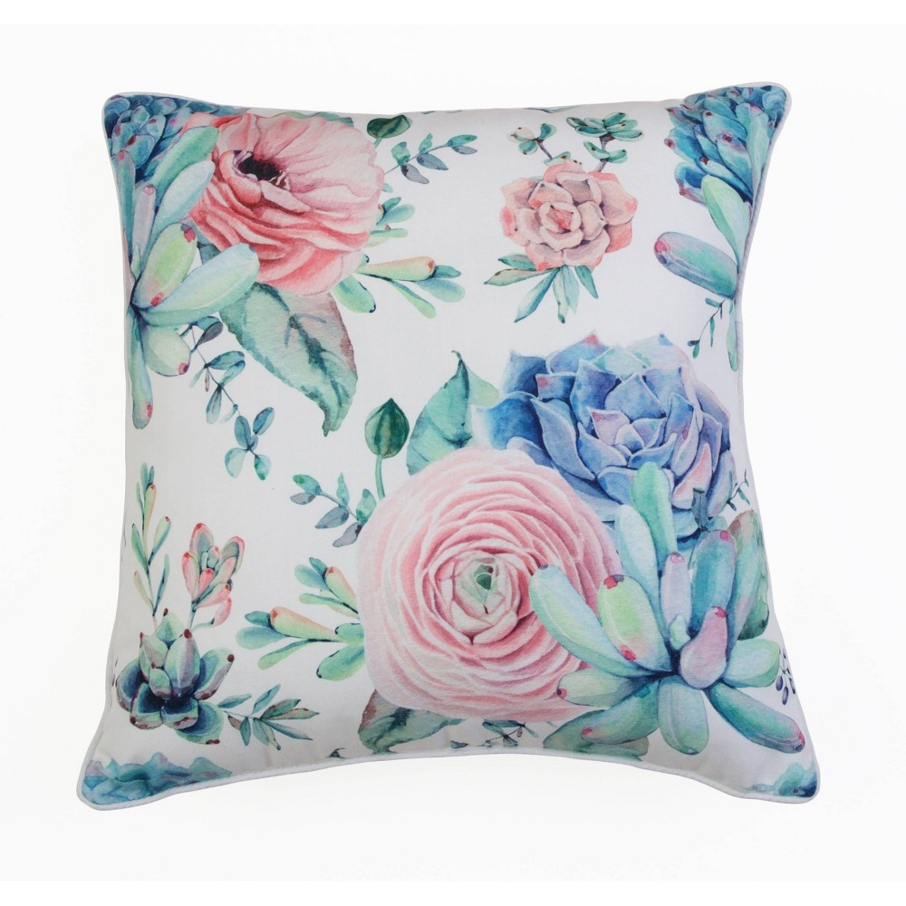 "Image of ""Décor Therapy 20""""x20"""" Arianna Cindy Succulent Throw Pillow White"""