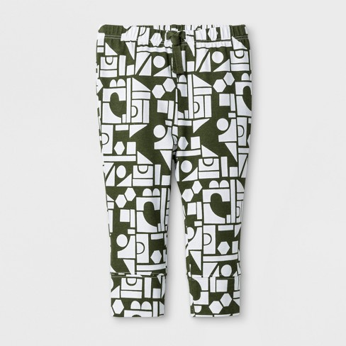 Baby Boys' Geo Print Jogger Pants - Cat & Jack™ White/Green - image 1 of 1