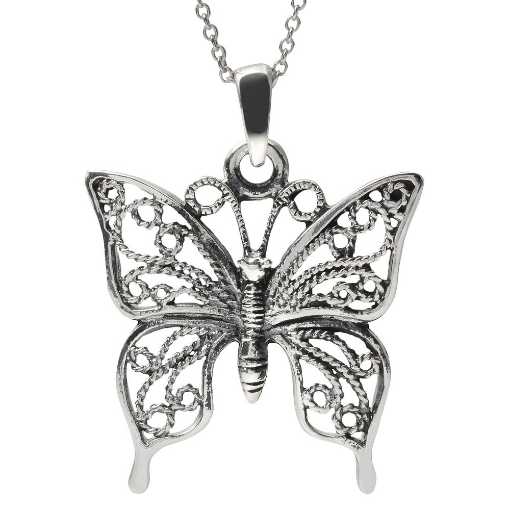 Women's Journee Collection Filigree Butterfly Necklace in Sterling Silver