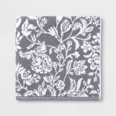 Performance Floral Bath Towel Dark Gray Floral - Threshold™