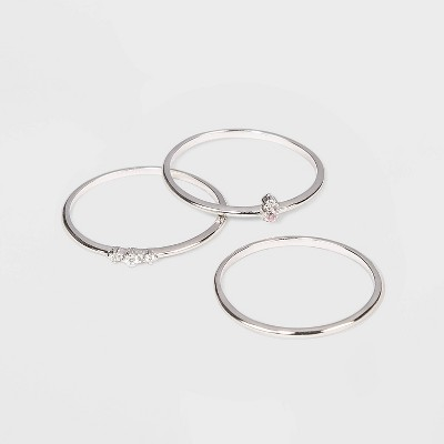 Sterling Silver with Cubic Zirconia Stacking Ring Set 3pc - A New Day™