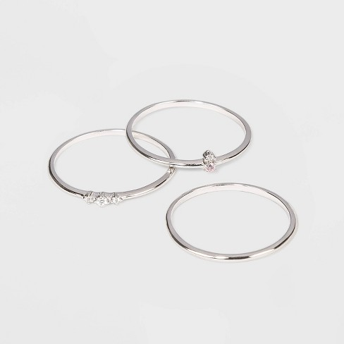 Sterling Silver with Cubic Zirconia Stacking Ring Set 3pc - A New Day™ - image 1 of 1