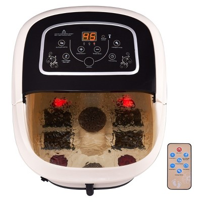 Costway All-In-One Foot Spa Bath Massager Tem/Time Set Heat Vibration W/4 Roller