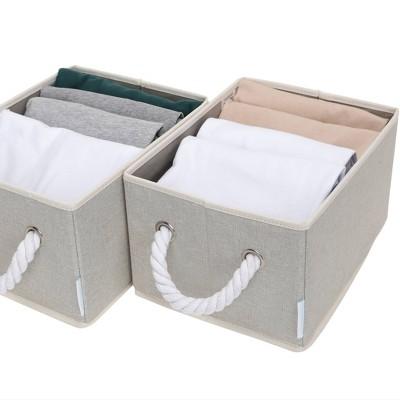 StorageWorks Set of 2 Fabric Storage Bins with Cotton Rope Handles Greenish Gray