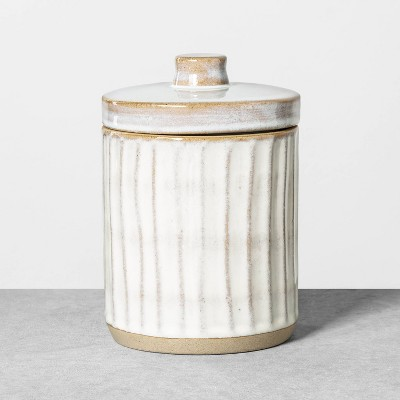 Medium Embossed Stoneware Reactive Glaze Bath Canister Sour Cream - Hearth & Hand™ with Magnolia