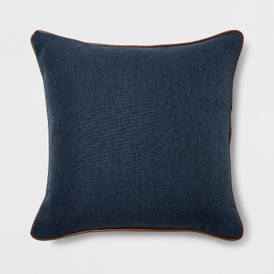 Faux Leather Piping Square Throw Pillow Blue - Threshold™