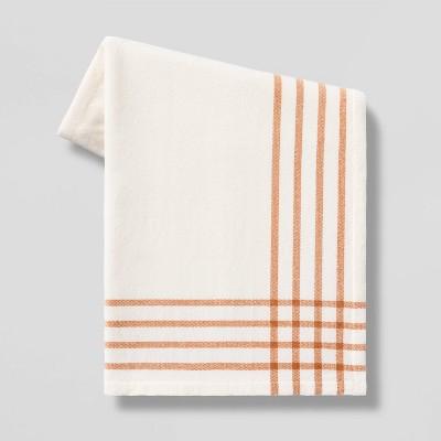 "50""x60"" Chenille Woven Border Plaid Throw Blanket - Threshold™"
