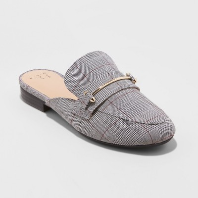 Women's Remmy Plaid Backless Loafers   A New Day™ by A New Day