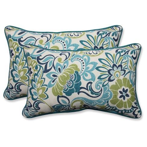 Pillow Perfect Zoe Mallard Outdoor Throw Pillow Set - Blue - image 1 of 2