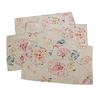 (Set of 4)Natural Primavera Printed Floral Design Placemat 14 x20  - Saro Lifestyle®