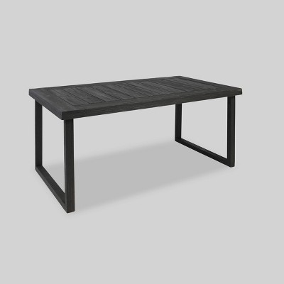 Nestor Rectangle Acacia Dining Table - Dark Gray - Christopher Knight Home