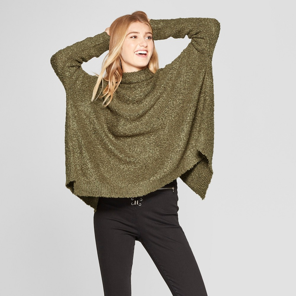 Women's Long Sleeve Wrap Front Pullover Sweater - Xhilaration Olive (Green) Xxl