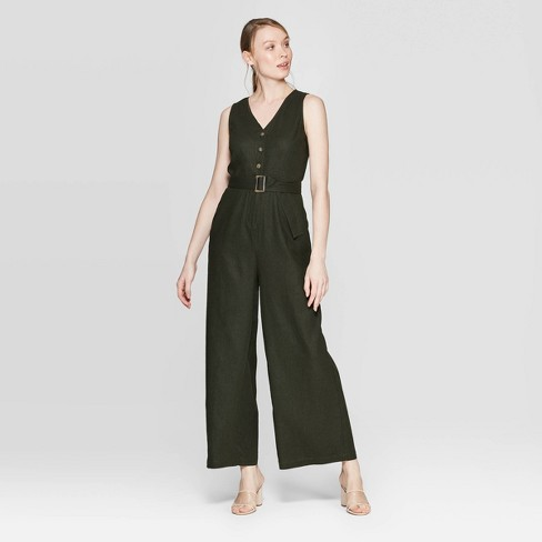 Women's Sleeveless V-Neck Ankle Length Belted Jumpsuit - Who What Wear™ Green - image 1 of 3