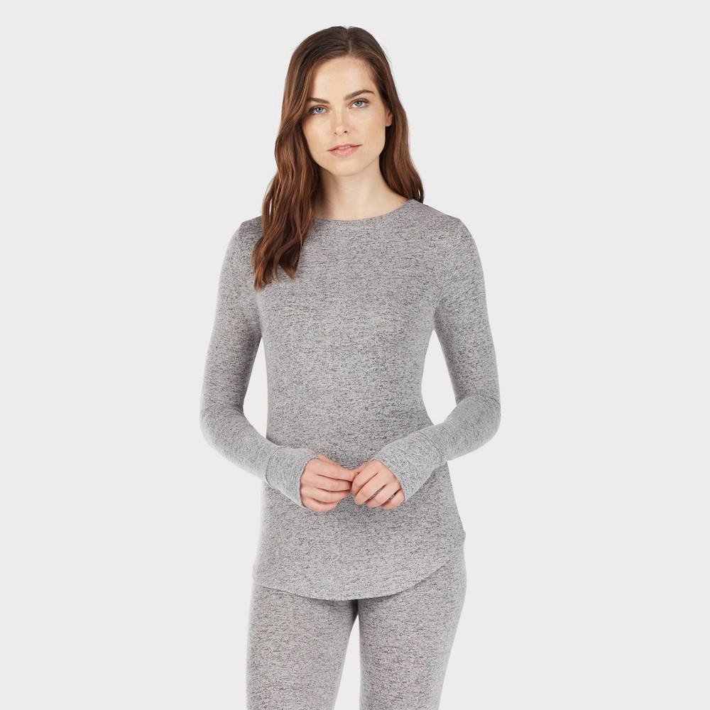 Warm Essentials by Cuddl Duds Women's Sweater Knit Crew Neck Thermal Top – Marled Gray M, Size: Medium