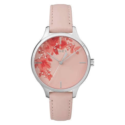 Women's Timex Crystal Bloom Watch with Leather Strap - Pink TW2R66600JT - image 1 of 3