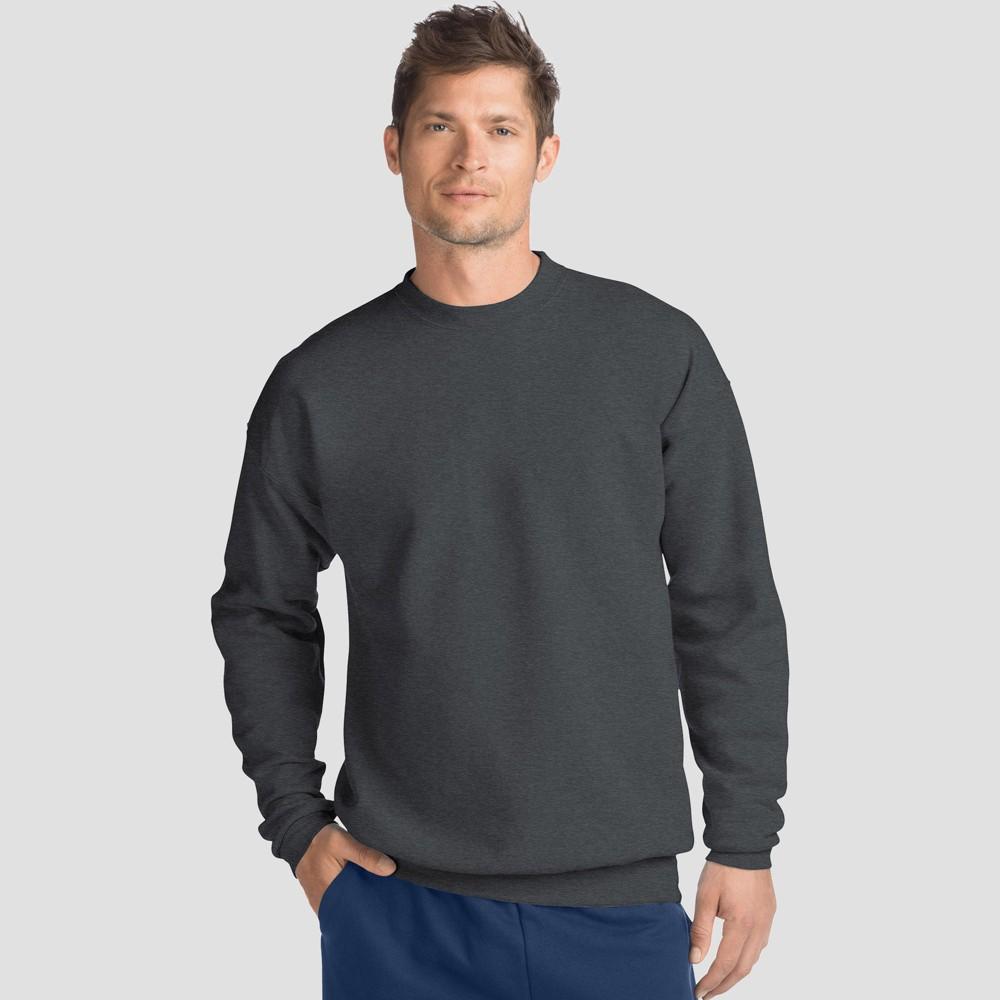 Hanes Men 39 S Ecosmart Fleece Crew Neck Sweatshirt Dark Gray 2xl