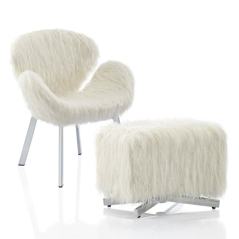 Estelle Accent Chair and Ottoman with Faux Fur and Chrome Legs White - CosmoLiving by Cosmopolitan