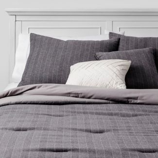 5p King Flannel Pencil Stripe Comforter Set Gray