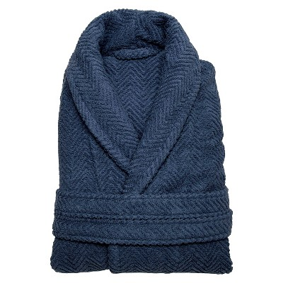 Herringbone Weave Bathrobe Unisex Linum Home - Midnight Blue (Large/XLarge)