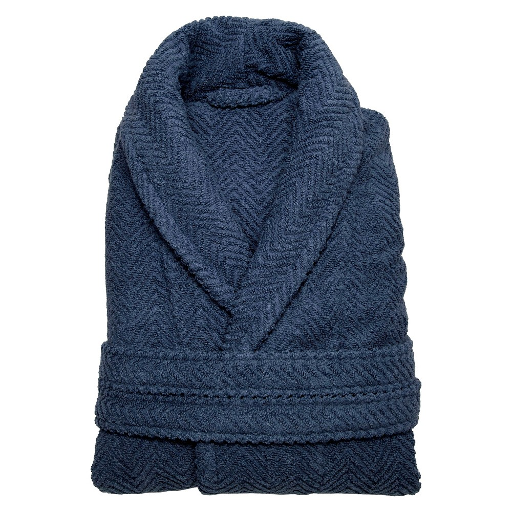 Herringbone Weave Bathrobe Unisex Linum Home Midnight Blue Large Xlarge