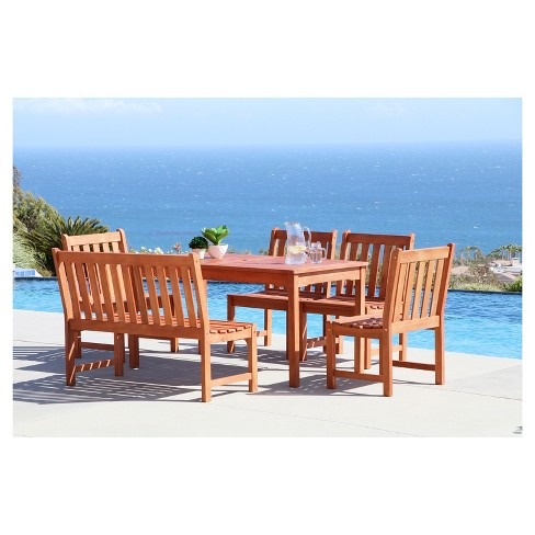 Malibu 6pc Rectangle Wood Patio Dining Set - Brown - Vifah - image 1 of 1
