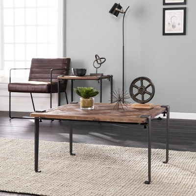 Talvia Square Reclaimed Wood Coffee Table Brown - Aiden Lane