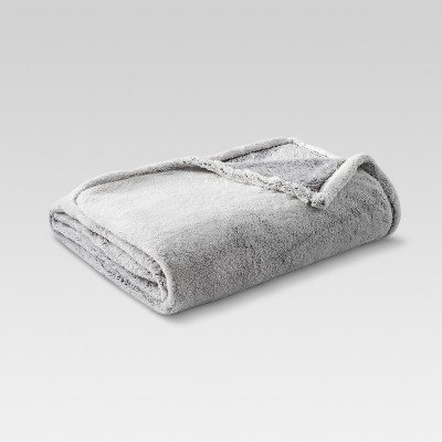 Fuzzy Blanket Full/Queen Heathered Gray - Threshold™