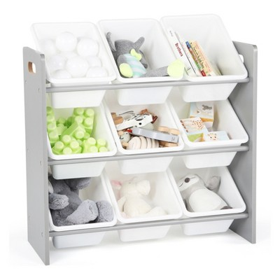 Wood Toy Organizer with 9 Plastic Bins Gray/White - Tot Tutors