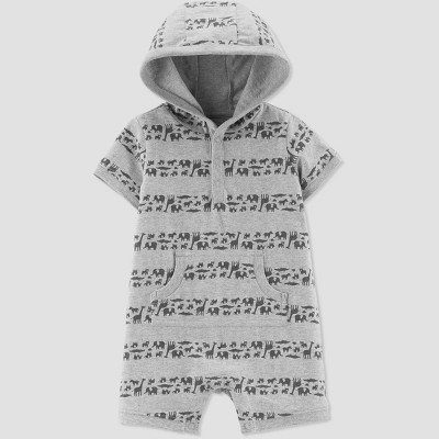 Baby Boys' Safari Striped Romper - Just One You® made by carter's Gray Newborn