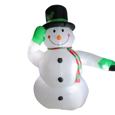 Northlight 8' White and Green Animated Inflatable Lighted Standing Snowman Christmas Outdoor Yard Art Decor