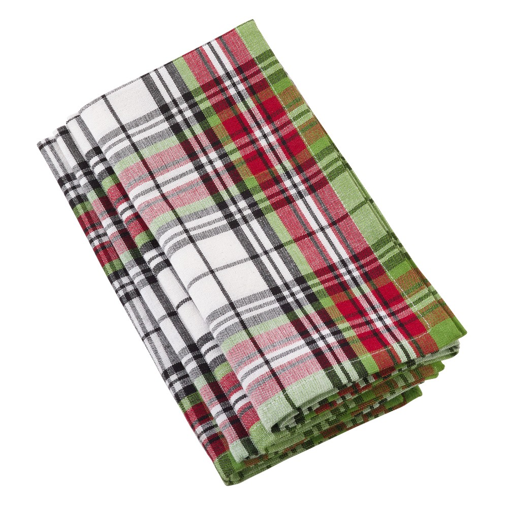 Green Red And White Plaid Table Runner - Saro Lifestyle, Multi-Colored