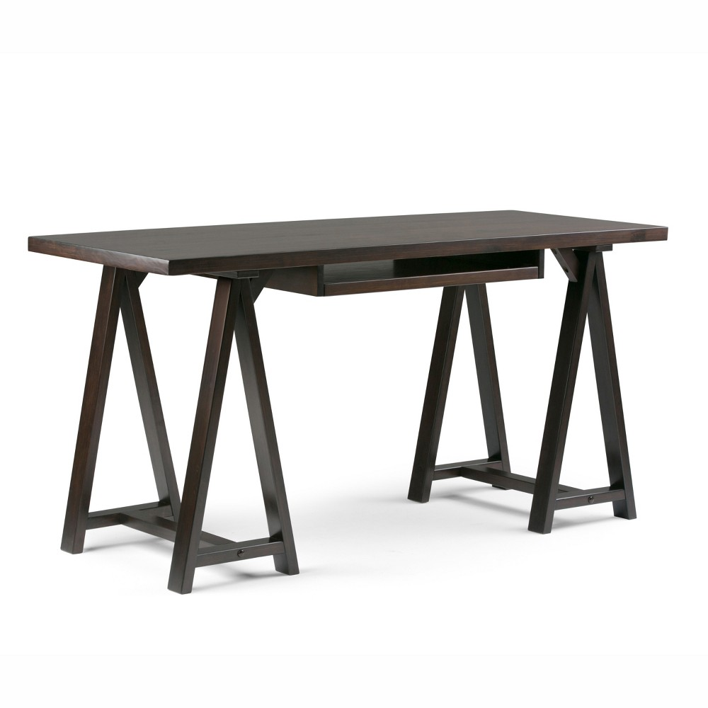 Hawkins Solid Wood Desk Dark Chestnut Brown - Wyndenhall