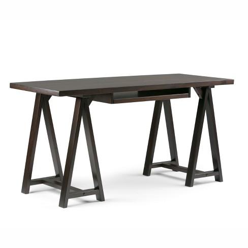 Large Hawkins Solid Wood Computer Desk with Keyboard Tray Dark Chestnut Brown - Wyndenhall - image 1 of 4